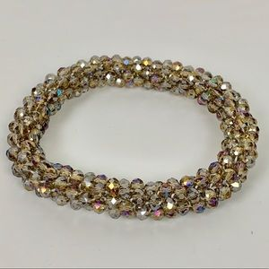Jewelry - 3/$20 Glass Seed Bead Roll on Bracelet Champagne